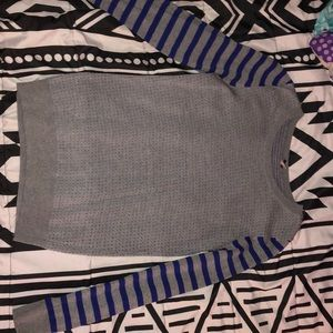Gray & Blue Striped dotted sweater